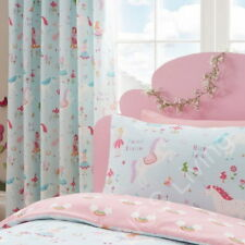 "Magical Unicorns Fairies Blue Pink Pair of Pencil Pleat Curtains 66"" x 72"""