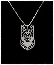 Artistic Silver Plated German Shepherd Dog Charm Necklace Pendant Chain Pet Gift