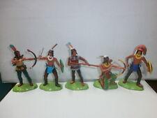 5 alte Elastolin Indianer Wildwest Kunststoff Steckfiguren mit Metallsockel 7cm