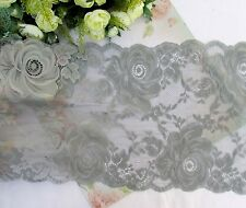 25 cm width Elegant Smoky Grey Stretch Lace Trim