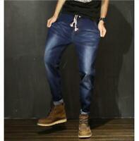 M-7XL Mens Elastic Waist Loose Denim Pants Stretch Taper Fit Jeans Oversize Hot