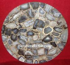 Gorgeous Gray/Black Mix Agate Coffee Table Top, Handmade Agate Round Table Tops