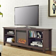"Fireplace TV Stand Space Heater 70"" Television Center Media Media Storage Brown"