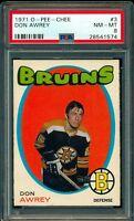 1971-72 OPC O PEE CHEE HOCKEY #3 DON AWREY GRADED PSA 8 NM-MINT Boston Bruins