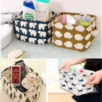 New Linen Desk Storage Box Holder Jewelry Stationery Cosmetic Organizer Case