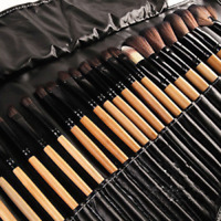 NEW 32pcs Purple Professional WOODEN Cosmetic Eyebrow Shadow Makeup Brush Set