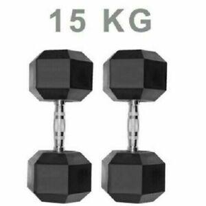 Hex Dumbbells Cast Iron Weights 2x15kg Hexagonal Rubber Encased Sets