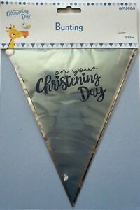 On Your Christening Day Blue 3.96 Metre Bunting Decorations Party Celebrations