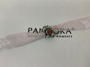 NWOT Pandora Genuine Sterling RETIRED Birthday Blooms Charm July Carnelian