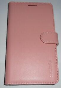 Spigen Wallet Flip Cover Case for Samsung Galaxy Note 4, 3 card slots, Pink