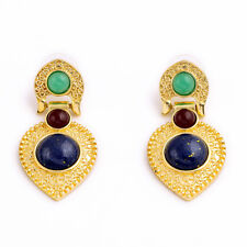 Fashion Brand Cleopatra Gold Studs Statement Earrings Texture Ear Cuff Gem Stone