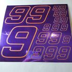PURPLE CHROME /GOLD #9's Decal Sticker Sheet DEFECTS  1/8-1/10-1/12 RC Mo BoxD