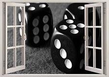 BLACK & WHITE DADI numeri 3d Effetto Finestra Vista Adesivo Muro Poster Vinile 348