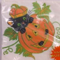 Vintage AG Halloween Black Cat Paper Party Napkins 24Ct Pumpkin Square USA Made