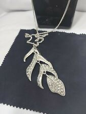 NEW WomenNecklace Guess Long Chain silver crystal pendant