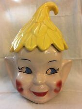 Vintage Elf Pixie Head Pottery Ceramic Cookie Jar w/ Rare Yellow Leaf Hat