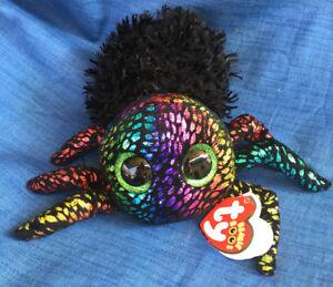 W-F-L TY Boos Leggz Spider Black Colourful Halloween 5 7/8in Hady Glitter Eyes