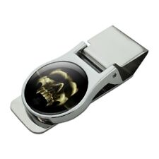 Shadow Skull Monster Horns Fantasy Satin Chrome Plated Metal Money Clip