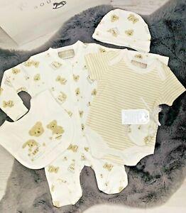 Newborn Baby Unisex 6PC Clothing Set Teddy Bears Sleepsuit Bodyvest 0-3 Months
