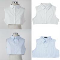 Men Women Detachable Fake Collar Lapel Neckline Half Shirt False Top w/Buttons