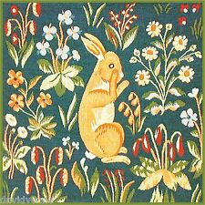 Rabbit in a Flower Field pattern 12 x 12 inch mono deluxe Needlepoint Canvas