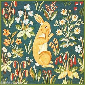 Rabbit in a Flower Field pattern 12 x 12 inch mono deluxe Needlepoint Canvas