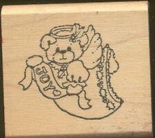 ANGEL TEDDY BEAR JOY Wings Halo RUBBER STAMPEDE Wood Mount CRAFT RUBBER STAMP