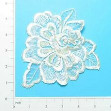 Large Ivory Sequinned & Beaded Organza Flower Sew On Applique