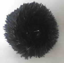 Vintage Black Feather Brim Velvet Crown Hat