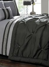 Large Luxury Black Bed Runner Quilted With Pearl Studs - 220cm X 70cm King Size