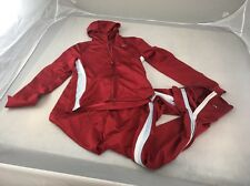 Nike Womens Track Suit Jogging Running Suit Warm Up Suit Mesh Red Stripes XS