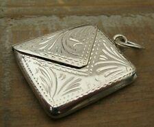 Antique Style Hallmarked Sterling Silver Engraved Envelope Stamp Case Holder