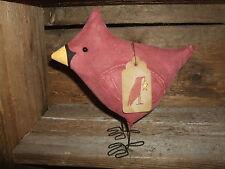 Primitive Fat Lil Red CARDINAL Bird Summer Folk Art Free Standing Ornie Tuck