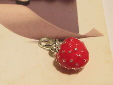 LOBSTER CLIP ON RED PLUMP STRAWBERRY CHARM - FIT CARRIER BRACELET