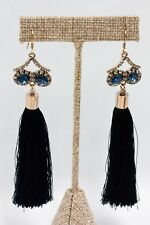 Long Tassel Black Drop Earrings - Nickle Free -