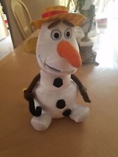 Disney Frozen OLAF SINGING PLUSH !! SUMMER HAT WORKS PERFECT BATTS INCLUDED