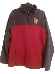 Colosseum University Of Oklahoma Half ZIP, Grey & Red Sweater Pullover Size XXL