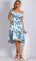 TEABERRY WOMENS OFF SHOULDER HIGH LOW BLUE FLORAL DRESS
