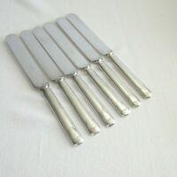 """6 Silverplate Blunt Knives Jewell 1916 International R & B 9 3/8"""" Shield Crest"""
