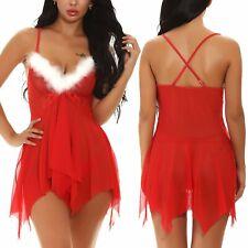 Женские белье Санта красный Рождество комбинация комплект сорочек наряд с кружевами, пижама, ночная