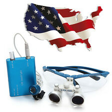 USA !Dental Surgical Medical Binocular Loupe 3.5X420mm+ LED Head Light Lamp blue