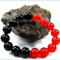 "Beautiful 12mm Red Jade Black Agate Stone Bracelet For Party Dance 7.5""AAA"