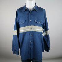 Roper Blue Khaki Long Sleeve Button Up Double Chest Pocket Jean Shirt Mens Large