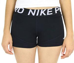 Nike Women's Pro 3in Training Shorts Black/Black/White Size L
