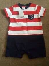 New Gymboree Patriotic One Piece Romper Size 3-6m NWT Red White