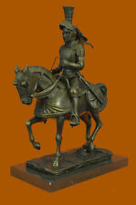 Armored Medieval Knight on Horse Bronzed Sculptural Statue Signed Original Sale