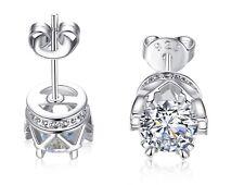 Women 925 STERLING SILVER STUD Queen Diamonique CZ Crown Earrings 7mm Gift Box