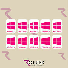 10x WINDOWS 10 POUR PC ORDINATEUR PORTABLE HD MAGENTA AUTOCOLLANT LOGO