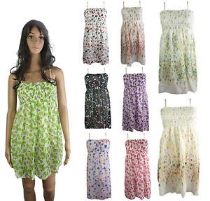 Women Summer Floral Cami Dress Ladies Short Beach Strappy Midi Sleeveless Dress
