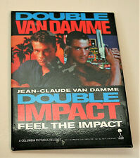 Columbia Pictures Double Impact J Van Damme Movie Promo Button Pin New NOS 1991